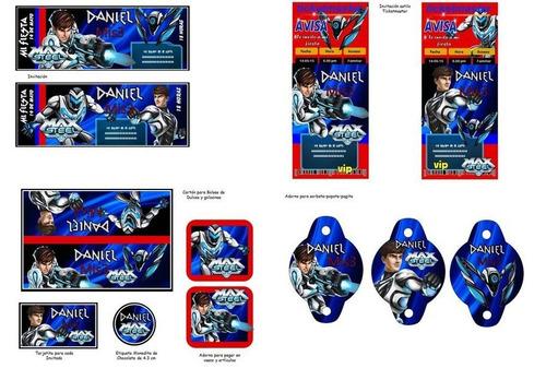 kit imprimible max steel fiesta 3x1