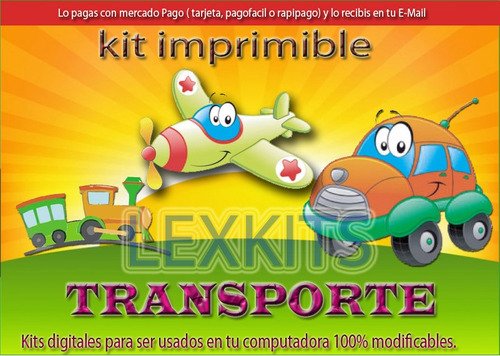 kit imprimible medios de transporte niños autito avion tren