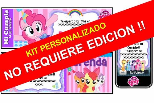 kit imprimible mi pequeño pony poni 100% personalizado