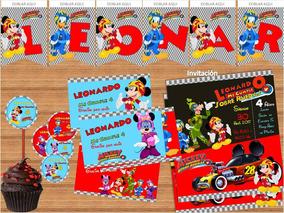 Kit Imprimible Mickey Aventuras Sobre Ruedas Editable