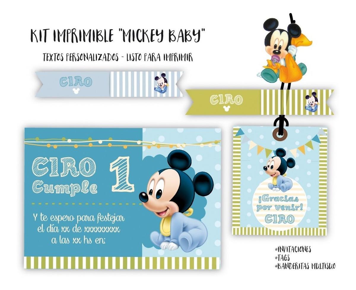 Kit Imprimible Mickey Baby Textos Personalizados 230 00 En