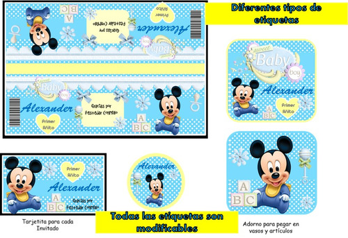 kit imprimible mickey bebe, fiesta, tarjetas