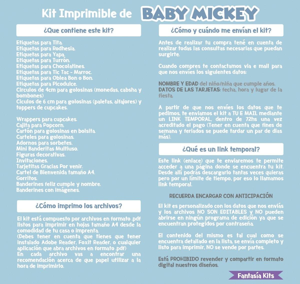 Kit Imprimible - Mickey Cumpleaños - $ 100,00 en Mercado Libre