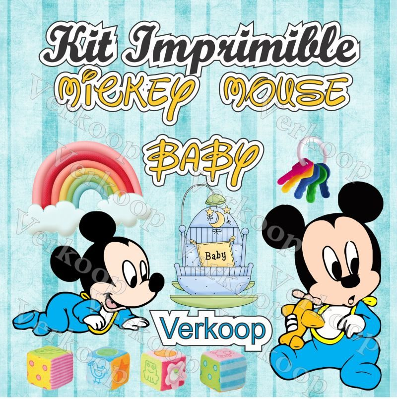 Kit Imprimible Mickey Mouse Bebe Invitaciones Tarjetas - S/. 35,00 ...