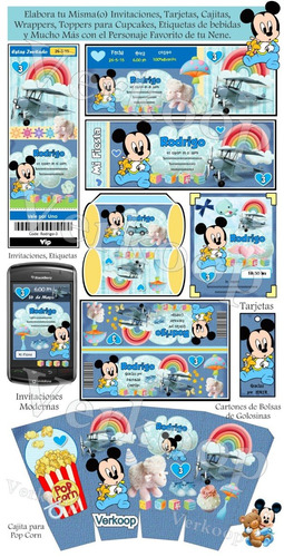 kit imprimible mickey mouse bebe invitaciones tarjetas