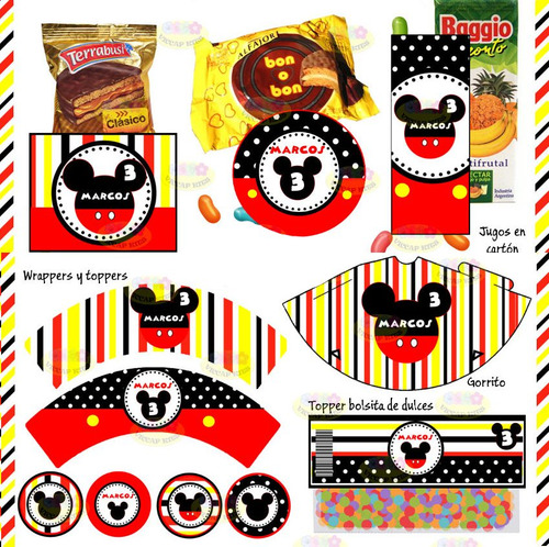 kit imprimible mickey mouse clasico rojo y negro candy bar
