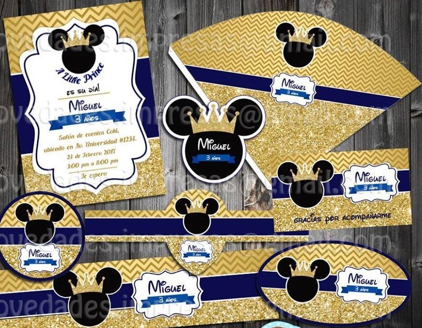 Kit Imprimible Mickey Mouse Dorado Corona Rey Etiqueta Candy