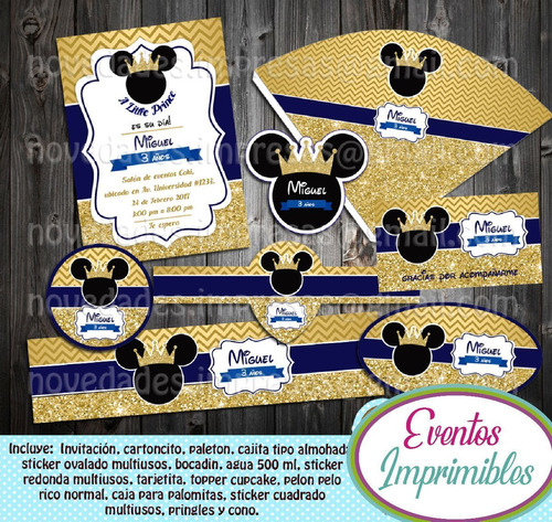 kit imprimible mickey mouse principe candy bar invitaciones