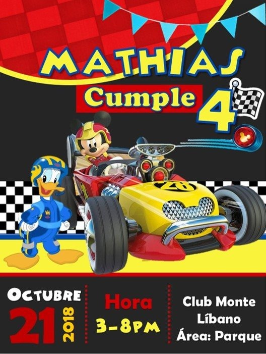 Kit Imprimible Mickey Mouse Racer Personalizado