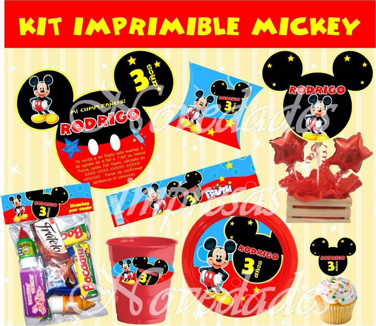 Kit Imprimible Mickey Mouse Tarjetas Cumpleanos Invitacion 6 - S/ 9 ...