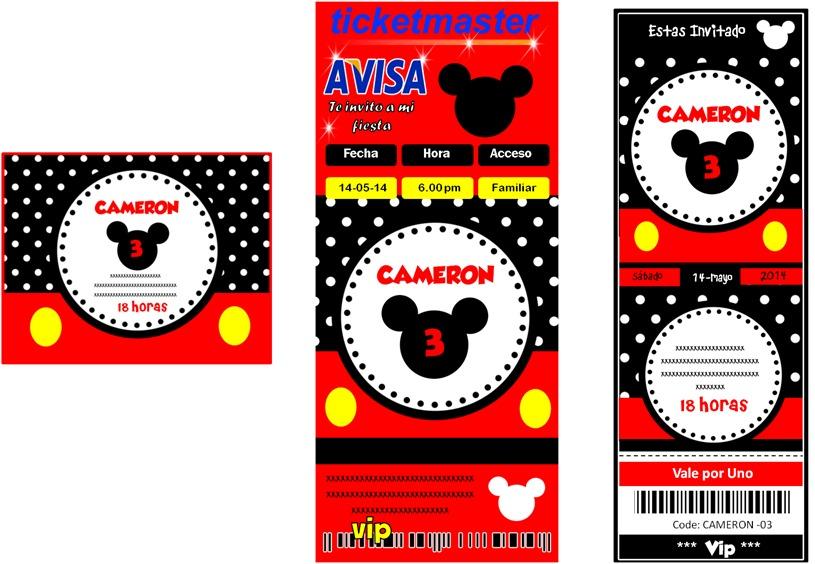 Kit Imprimible Mickey Mouse Tarjeta Invitaciones Diseño
