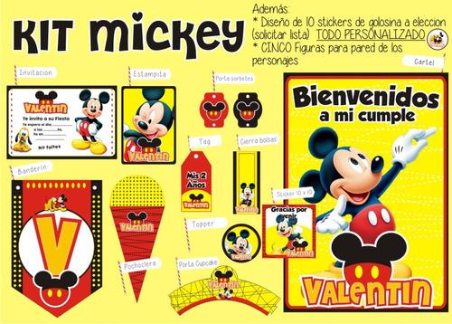 kit imprimible mickey personalizado