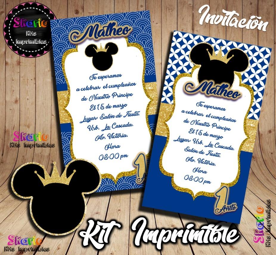 Kit Imprimible Mickey Príncipe Azul Rey Personalizado Pdf