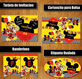Kit Imprimible Mickey Sobre Ruedas Candy Bar Cumple Fiesta C