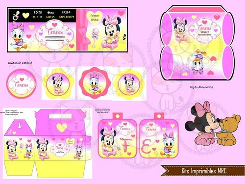 kit imprimible mickey y minnie bebes editable 2x1 fiesta