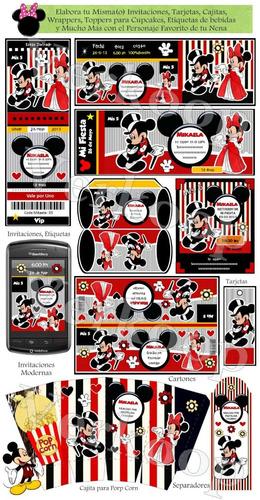 kit imprimible mickey y minnie mouse safari puntos rayas