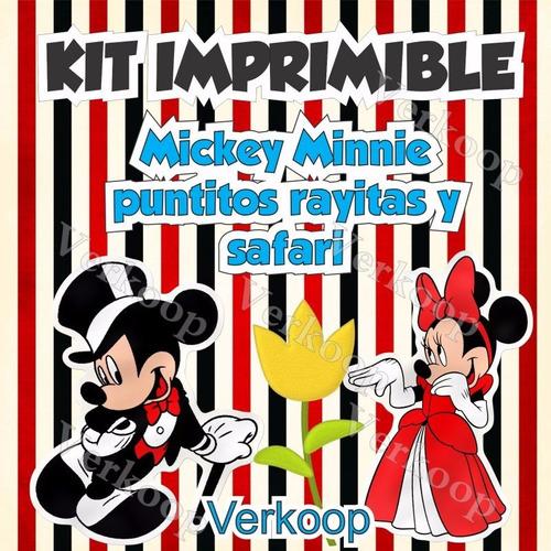 kit imprimible mickey y minnie mouse safari puntos y rayas