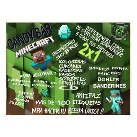 Kit Imprimible Mine Craft Candy Deco Pizarra Cajas Y Mas 2x1