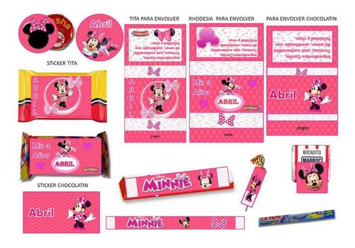 kit imprimible mini candy bar minnie rosa! 2x1 imperdible