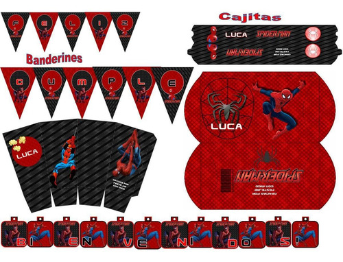 kit imprimible mini candy bar spiderman! 2x1 imperdible