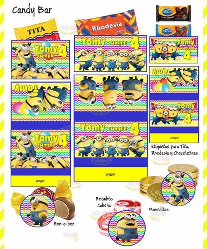 kit imprimible minions mi villano favorito candy bar invitac