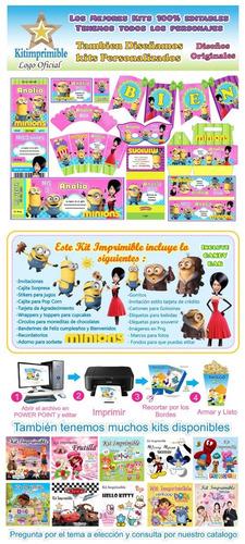 kit imprimible minions niña candy bar fiesta personalizada
