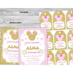 Kit Imprimible Minnie Dorado Rosa  Candy Bar Baby Cumples