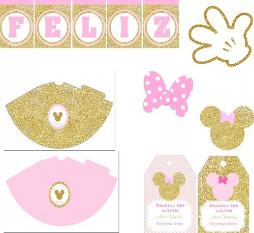 kit imprimible minnie dorado rosa primer añito candy bar