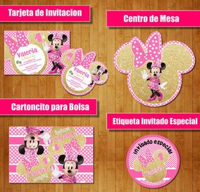 Kit Imprimible Minnie Dots Dorado Rosado Candy Bar Cotillon