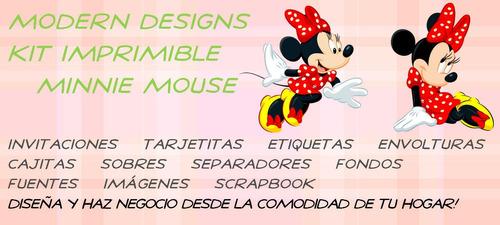kit imprimible minnie mouse adornos invitaciones y+
