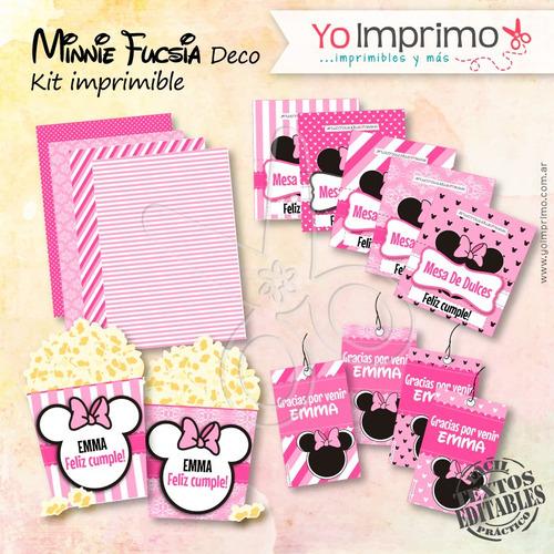 kit imprimible minnie mouse decoración , fiestas, cumpleaños