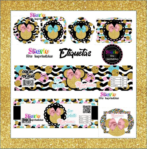 kit imprimible minnie mouse  glitters candy bar pdf