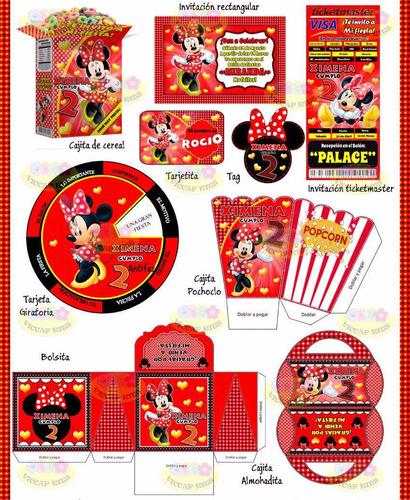 kit imprimible minnie mouse roja decoración candy bar fiesta