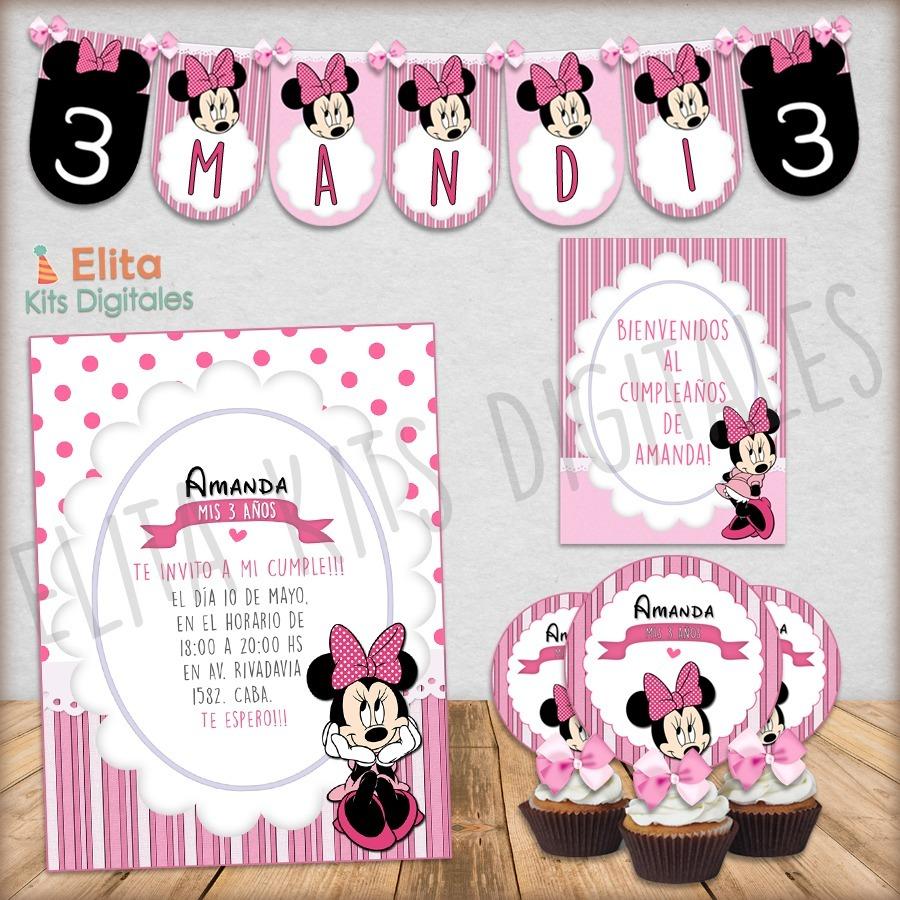kit imprimible minnie mouse rosa decoración cumpleaños nena. Cargando zoom. 07306a71b22