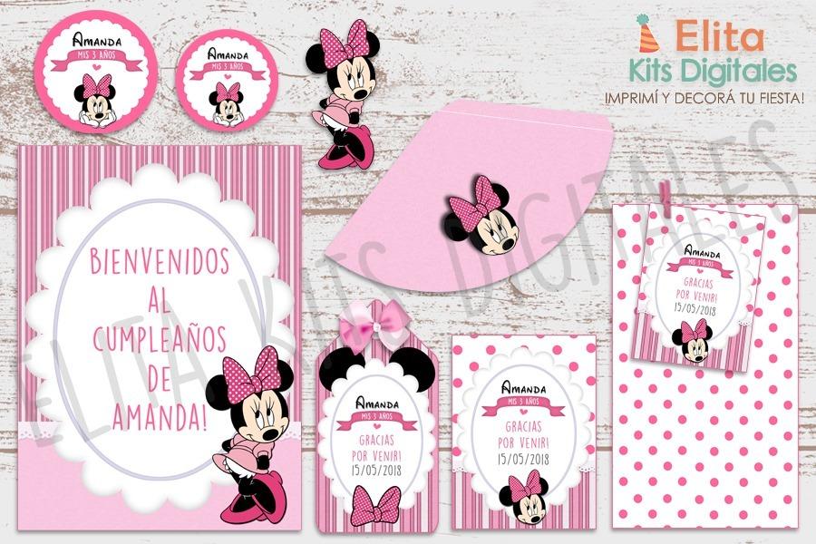 Kit Imprimible Minnie Mouse Rosa Decoracion Cumpleaños Nena