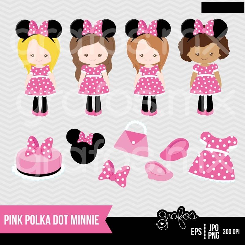 Kit Imprimible Minnie Mouse Rosado Disney 4 Imagenes Clipart - $ 17 ...