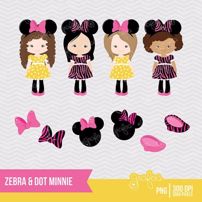 Kit Imprimible Minnie Mouse Zebra Disney 4 Imagenes Clipart ...