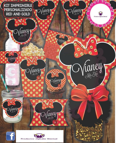 kit imprimible minnie red and gold