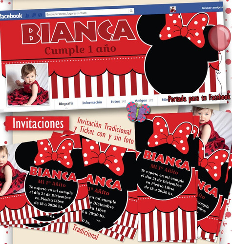 kit imprimible minnie roja. candy bar, cotillón. super glam!