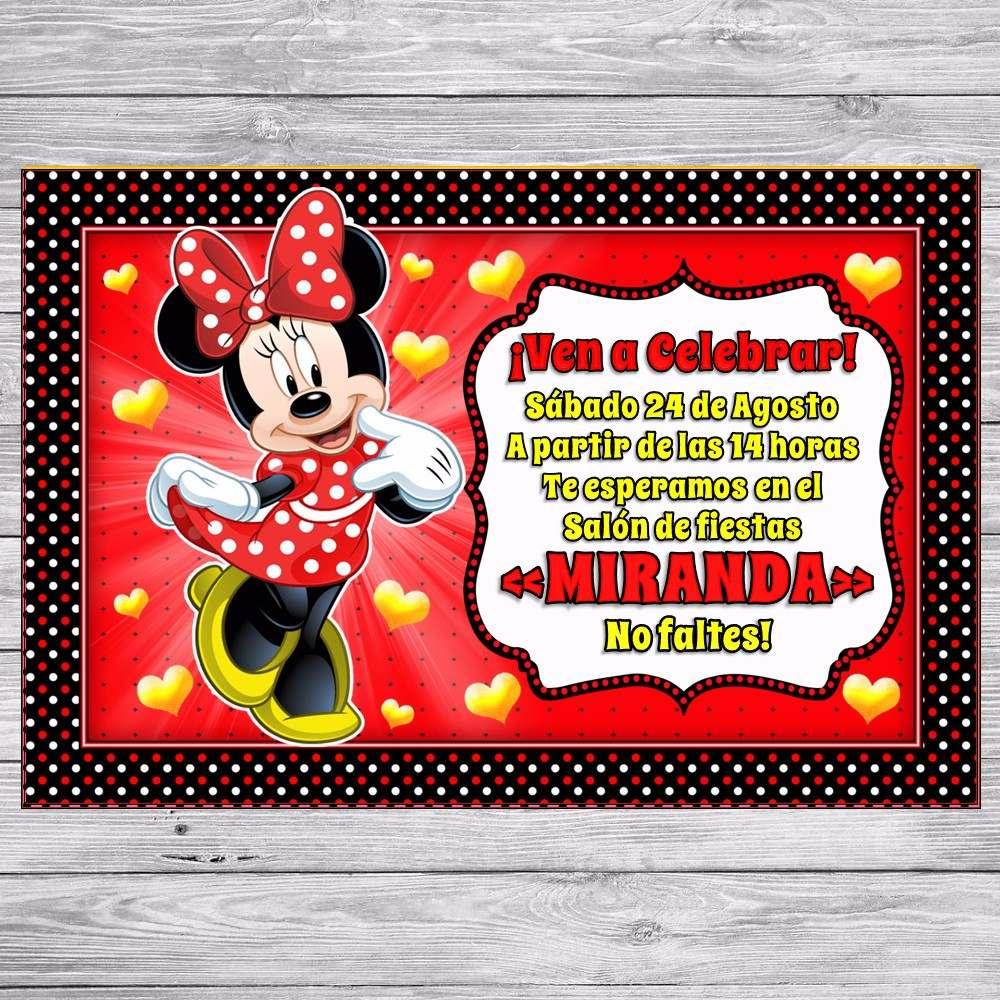 Kit Imprimible Minnie Roja Invitaciones Golosinas Editable