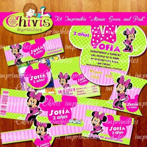 kit imprimible minnie rosa con verde tarjetas candy bar 7