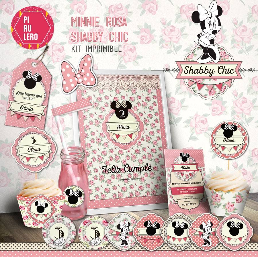 Kit Imprimible Minnie Shabby Chic Diseño Pirulero - $ 340,00 en ...