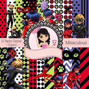 Kit Imprimible Miraculous Ladybug 22 Fondos Y 24 Imágenes
