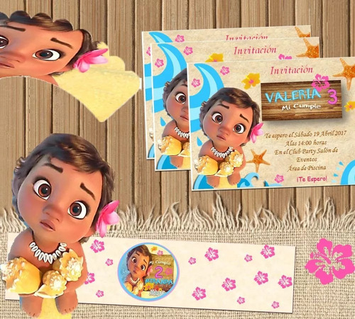 kit imprimible moana bebe candy bar editable