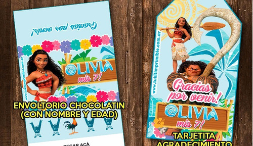 kit imprimible moana diseño luau candy bar invitaciones