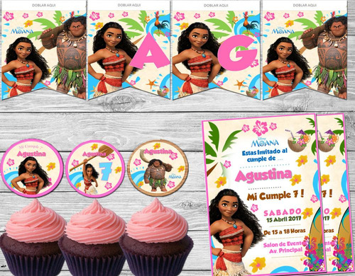 kit imprimible moana  disney candy bar invitación decoración