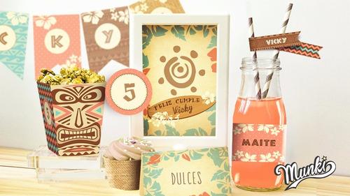 kit imprimible moana surf personalizado candybar cumpleaños