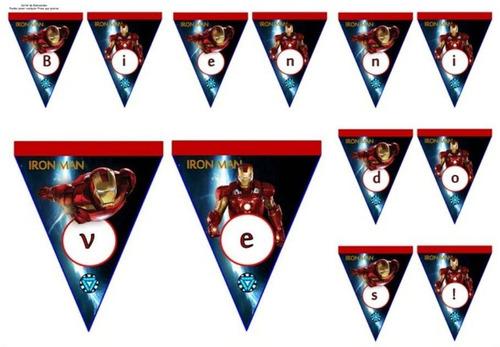 kit imprimible modificable iron man fiesta 3x1