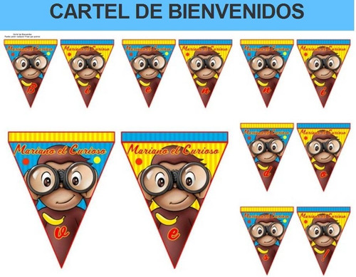 kit imprimible mono jorge el curioso fiesta 3x1