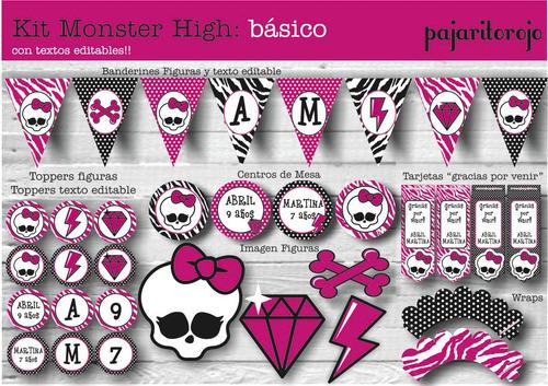 kit imprimible monster high